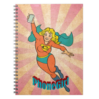 Super Cell Phone Girl/Woman Spiral Notebook