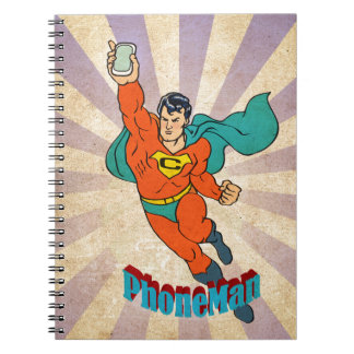 Super Cell Phone Man Spiral Note Books