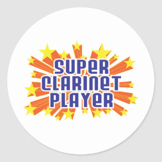 Super Clarinet Player Classic Round Sticker