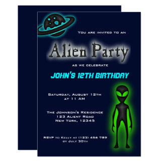 Super Cool Alien Birthday Party Invite