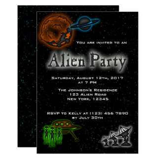 Super Cool Alien & UFO Party Invite