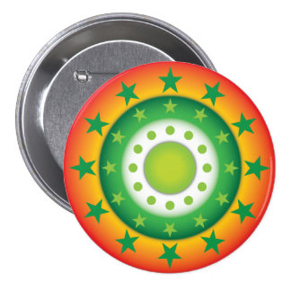 Super cool green circular star patterns button