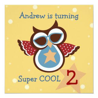 Super COOL Owl Birthday Party Invitation