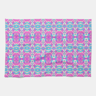 SUPER COOL Pink and Blue Abstract Pattern Kitchen Towel