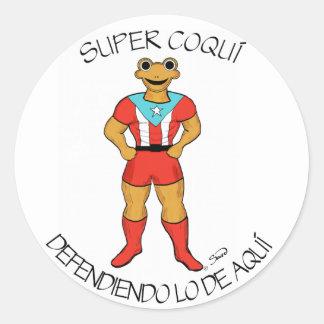 Super Coquí Defendiendo lo de Aquí Classic Round Sticker