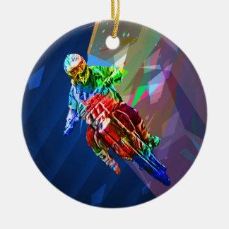 Super Crayon Colored Dirt Bike Leaning Into Curve Ceramic Ornament