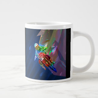 Super Crayon Colored Dirt Bike Leaning Into Curve Large Coffee Mug