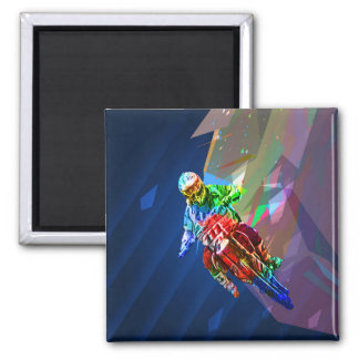 Super Crayon Colored Dirt Bike Leaning Into Curve Magnet