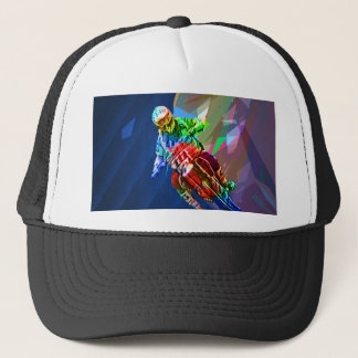 Super Crayon Colored Dirt Bike Leaning Into Curve Trucker Hat