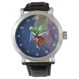 Super Crayon Colored Dirt Bike Leaning Into Curve Watch