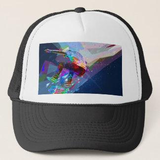 Super Crayon Colored Silhouette Skateboarder Trucker Hat