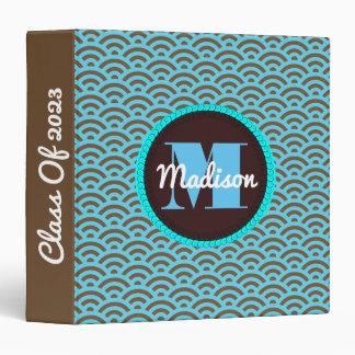Super Cute Blue & Brown w/Name & Monogram Vinyl Binder