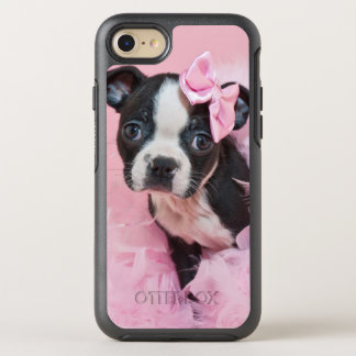 Super Cute Boston Terrier Puppy Wearing A Boa OtterBox Symmetry iPhone 7 Case