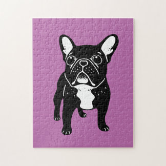Super cute brindle French Bulldog Puppy Jigsaw Puzzle