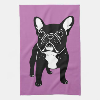 Super cute brindle French Bulldog Puppy Kitchen Towel