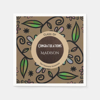 Super Cute Brown Floral Abstract Graduation Disposable Napkin