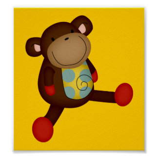 SUPER CUTE BROWN TOY MONKEY STUFFED ANIMALS HAPPY POSTER