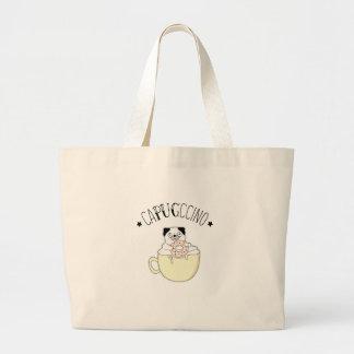 Super Cute CaPUGccino! Pugs & Coffee, what else? Large Tote Bag
