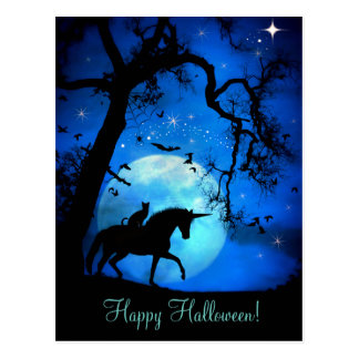 Super Cute Cat and Unicorn Halloween Postcard