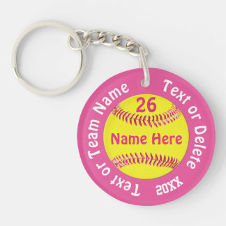 Super Cute Cheap Softball Gifts with 5 Text Boxes Keychain