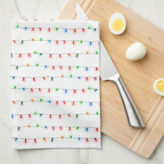 Super cute Christmas lights pattern kitchen decor Kitchen Towel