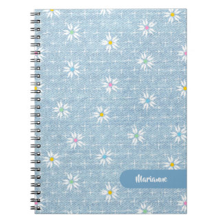 Super cute faded blue denim floral notebook