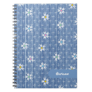Super cute faded blue grainy denim floral notebook