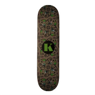 Super Cute Floral Abstract w/Monogram Skate Deck