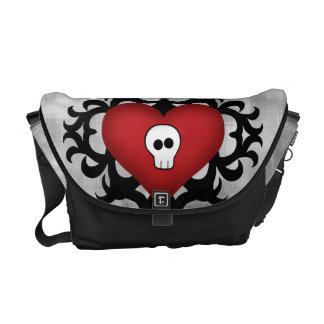 Super cute gothic damask skull heart black and red courier bag