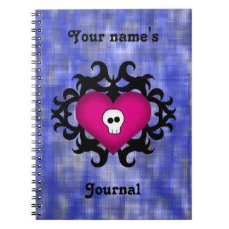 Super cute gothic damask skull heart fuschia blue notebook