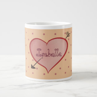 Super Cute Heart Cartoon Personalized Polka Dots Large Coffee Mug