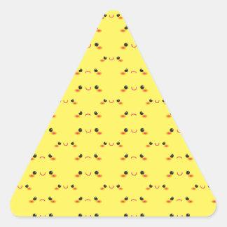 Super cute Kawaii face on yellow Triangle Sticker