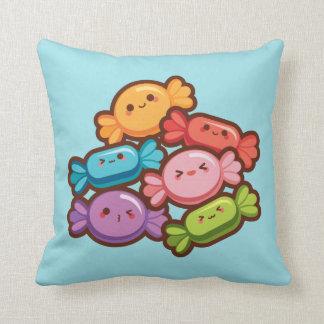 Super cute kawaii rainbow candies custom color throw pillow