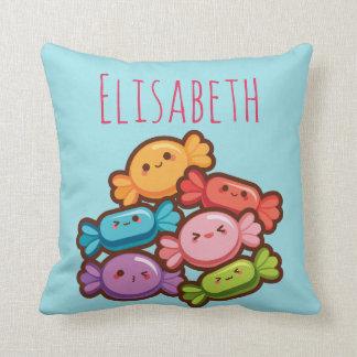 Super cute kawaii rainbow candies monogram throw pillow