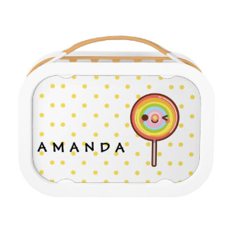 Super cute kawaii rainbow lollipop add your name lunch box