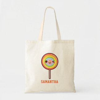 Super cute kawaii rainbow lollipop add your name tote bag