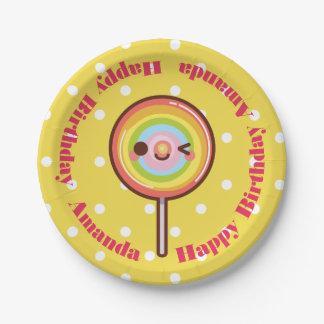 Super cute kawaii rainbow lollipop custom name paper plate