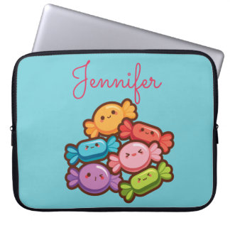 Super cute kawaii rainbow lollipop monogram blue laptop sleeve
