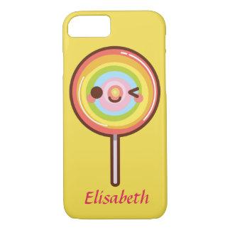 Super cute kawaii rainbow lollipop monogram iPhone 7 case