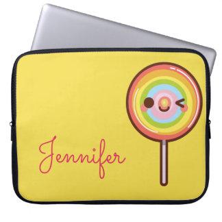 Super cute kawaii rainbow lollipop monogram laptop computer sleeve