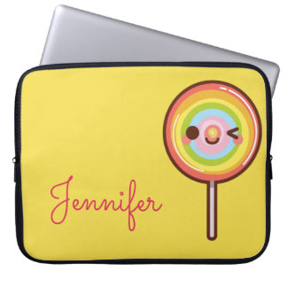 Super cute kawaii rainbow lollipop monogram laptop sleeve