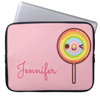 Super cute kawaii rainbow lollipop monogram pink laptop sleeve