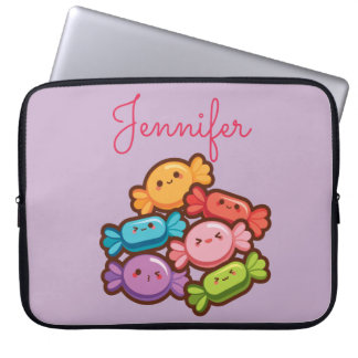 Super cute kawaii rainbow lollipop monogram purple laptop sleeve