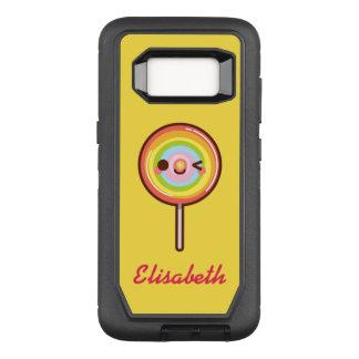 Super cute kawaii rainbow lollipop name monogram OtterBox defender samsung galaxy s8 case