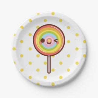 Super cute kawaii rainbow lollipop paper plate