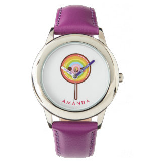 Super cute kawaii rainbow lollipop Personalized Wrist Watches