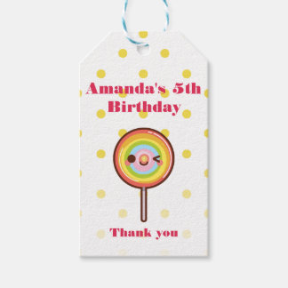 Super cute kawaii rainbow lollipop THANK YOU Gift Tags