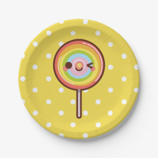 Super cute kawaii rainbow lollipop YELLOW Paper Plate