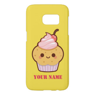 Super cute kawaii sweet cupcake name monogram samsung galaxy s7 case