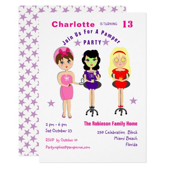 Super Cute Pamper Party Girls  Birthday Invites